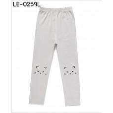 LE0259L กางเกงเลคกิ้งเด็กผู้หญิง ขายาว สกรีนหน้าแมวที่หัวเข่า สีเทา S.120