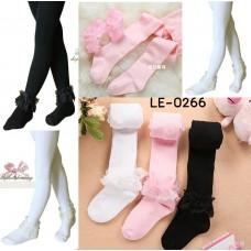 LE0266 ลองจอน ถุงน่องเด็กผู้หญิง สีเรียบๆ แต่งยางรัดข้อเท้าผ้าลูกไม้ ไซส์ M 4-7 ปี (เลือกสี) (2ชิ้น) สีชมพู
