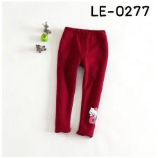 LE0277 กางเกงเลคกิ้งเด็กผู้หญิง ขายาว สกรีนคิตตี้เกาะโบว์ที่ปลายขา สีแดง (บุขนด้านใน)