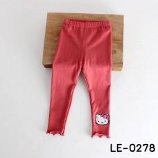 LE0278 กางเกงเลคกิ้งเด็กผู้หญิง ขายาว ปักหน้าคิตตี้ที่ปลายขา สีแดง