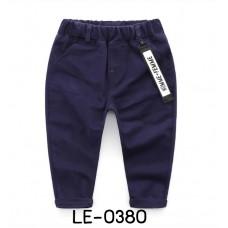 LE0380 กางเกงขายาวเด็กผู้ชาย เอวยางยืด มีแถบผ้าห้อยเอว สีกรมท่า