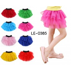 LE0385 กระโปรงเด็กผู้หญิง ปอมๆ เชียร์ TUTU ขอบเอวสีดำ ไซส์ L อายุ 5-8 ปี (เลือกสี)