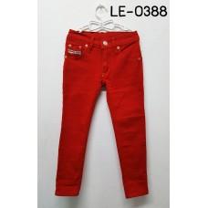 LE0388 กางเกงยีนส์ขายาวเด็กผู้ชาย ทรงขาเดฟ สีแดง