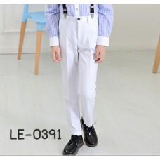 LE0391L กางเกงสแลคเด็กผู้ชายขายาวสีขาวออฟไวท์