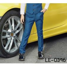 LE0396 กางเกงสแลคเด็กผู้ชายขายาวสีน้ำเงินอมเขียว