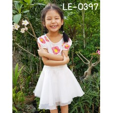 LE0397 กระโปรงกางเกงเด็กผู้หญิง ผ้าแก้ว 5-9 ปี สีขาว
