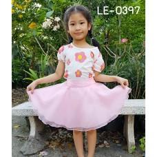 LE0397 กระโปรงกางเกงเด็กผู้หญิง ผ้าแก้ว 5-9 ปี สีชมพู