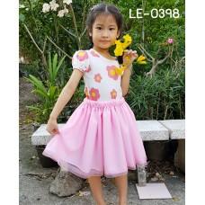 LE0398 กระโปรงเด็กผู้หญิง ผ้าชีฟองแต่งขอบริบบิ้น (5 ปี - ผู้ใหญ่) สีชมพู