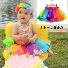 LE0386S กระโปรงเด็กผู้หญิงสีรุ้ง ปอมๆ เชียร์ ผูกโบว์ขอบเอว ไซส์ S อายุ 0-2 ปี