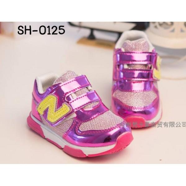 SH0125 รองเท้าเด็ก ผ้าใบพื้นยาง สายคาด New Balance สีเหลือง