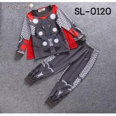 SL0120X << สินค้ามีตำหนิ >> ชุดแฟนซีเด็ก ชุดนอนเด็ก แขนยาวขายาว ลายซุปเปอร์ฮีโร่ ธอร์ เทพเจ้าสายฟ้า (2ชิ้น) ==ไม่มีผ้าคลุมสีแดง== S.120