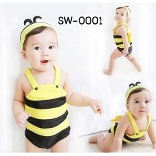 SW0001 ชุดว่ายน้ำแบบบอดี้สูท แฟนซีลายผึ้งน้อยน่ารัก พร้อมหมวก สีเหลือง (2ชิ้น)