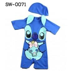 SW0071 ชุดว่ายน้ำเด็กผู้ชาย แฟนซี แบบบอดี้สูท แขนขาสั้น ลายสติชท์ Stitch พร้อมหมวกว่ายน้ำ สีน้ำเงิน (2ชิ้น)