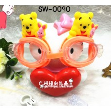 SW0090 แว่นตากันน้ำเด็ก ลายหมีพูห์ Pooh ขอบแว่นสีส้ม พร้อมที่บีบจมูก และที่อุดหู กันน้ำเข้า (4ชิ้น)