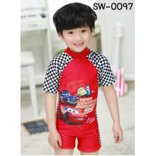 SW0097 ชุดว่ายน้ำเด็กผู้ชาย แบบบอดี้สูท แขนขาสั้น ลายคาร์ Cars Mcqueen พร้อมหมวก สีแดง (2ชิ้น)