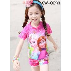 SW0099 ชุดว่ายน้ำเด็กผู้หญิง แบบเสื้อและกางเกงแขนขาสั้น ลาย Frozen สีชมพู (2ชิ้น)