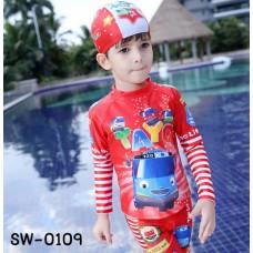 SW0109 ชุดว่ายน้ำเด็กผู้ชาย แบบเสื้อแขนยาว กางเกงขาสามส่วน พร้อมหมวก ลายรถบัส TAYO (3ชิ้น) S.140