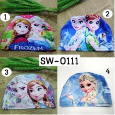 SW0111 หมวกว่ายน้ำเด็กผู้หญิง ลายโฟรเซ่น Frozen 4-12y (เลือกลาย)