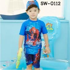 SW0112 ชุดว่ายน้ำเด็กผู้ชาย แบบเสื้อแขนสั้น กางเกงขาสามส่วน พร้อมหมวก ลายสไปเดอร์แมน (3ชิ้น)