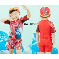 SW0115 ชุดว่ายน้ำเด็กผู้ชาย แบบบอดี้สูท ลายสไปเดอร์แมน พร้อมหมวกว่ายน้ำ สีแดง (2ชิ้น) S.130/140
