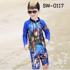 SW0117 ชุดว่ายน้ำเด็กผู้ชาย แบบเสื้อแขนยาวซิปหน้า กางเกงขาสามส่วน พร้อมหมวก ลายไอรอนแมน (3ชิ้น) S.140