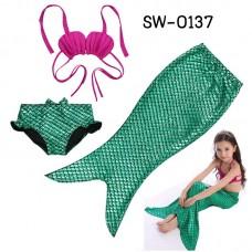 SW0137 ชุดว่ายน้ำนางเงือก เด็กผู้หญิง ทูพีชเปลือกหอยสีชมพู กกน.และครีบ สีเขียว (3ชิ้น) S.120