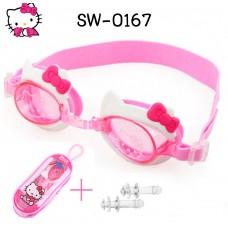 SW0167 แว่นตาว่ายน้ำเด็ก ลายคิตตี้ขอบสีขาวติดโบว์ พร้อมที่อุดหูกันน้ำเข้า (3ชิ้น)