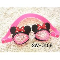 SW0168 แว่นตาว่ายน้ำเด็ก ลายหูมินนี่เมาส์สีชมพู พร้อมกล่องเก็บ และที่อุดหูกันน้ำเข้า (4ชิ้น)
