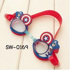 SW0169 แว่นตาว่ายน้ำเด็ก ลายซุปเปอร์ฮีโร่ กัปตันอเมริกา พร้อมกล่องเก็บ และที่อุดหูกันน้ำเข้า (4ชิ้น)