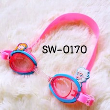 SW0170 แว่นตาว่ายน้ำเด็ก ลายโฟรเซ่นสีชมพูฟ้า พร้อมกล่องเก็บ และที่อุดหูกันน้ำเข้า (4ชิ้น)