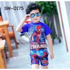 SW0175 ชุดว่ายน้ำเด็กผู้ชาย แบบเสื้อแขนสั้น กางเกงขาสามส่วน พร้อมหมวก ลายสไปเดอร์แมน (3ชิ้น)