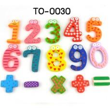 TO0030 Magnet ตัวเลขไม้ เป็นแม่เหล็กติดตู้เย็น 15 ชิ้น/แพ็ค