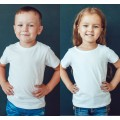 TS0001 เสื้อยืดเด็ก คอกลม สีขาวออฟไวท์ (Off-white)