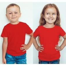 TS0006 เสื้อยืดเด็ก คอกลม สีแดง