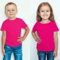 TS0015 เสื้อยืดเด็ก คอกลม สีชมพูบานเย็น