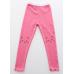 LE0256 กางเกงเลคกิ้งเด็กผู้หญิง ขายาวขอบย่น สกรีนหน้าแมวที่หัวเข่า สีชมพูบานเย็น S.110