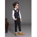 BO0563 ชุดสูทเด็กผู้ชายเด็กโต สุดคุ้ม เสื้อสูท + เสื้อกั๊ก + กางเกงขายาว สีดำ พร้อมเข็มกลัด (4ชิ้น)
