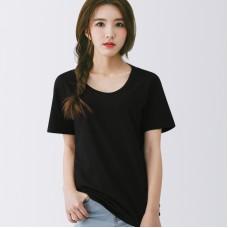 TS0032 เสื้อยืดคอกลมสีดำล้วน  Cotton 100%  เนื้อดี
