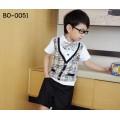 bo0051 เสื้อแขนสั้นเด็กผู้ชายออกงาน ลายสก๊อต ติดหูกระต่ายสีเบจ (ถอดออกได้) กางเกงขาสั้นสีดำ (3ชิ้น) แขนเสื้อสีขาว