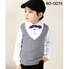 bo0073 ชุดสูทออกงานเด็กผู้ชายแขนยาวสีขาวดำ ติดโบว์หูกระต่ายสีดำจุดขาว (ถอดออกได้) ตัวกั๊กเย็บติด (2ชิ้น)