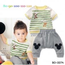 bo0074 ชุดเด็กผู้ชาย มีกระรอกลายขวางสีเขียว กางเกงสีเทา แต่งมิกกี้เมาส์ (2ชิ้น)