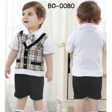 bo0080 ชุดออกงานเด็กผู้ชาย เสื้อแขนสั้น ลายสก๊อต (ไม่มีหูกระต่าย) กางเกงขาสั้นสีดำ แขนเสื้อสีขาว (2ชิ้น)