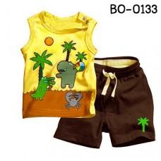 bo0133 ชุดเด็กผู้ชาย เสื้อกล้ามลายทะเล สีเหลือง + กางเกงขาสั้น สีน้ำตาล (2ชิ้น)