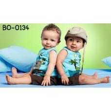 bo0134 ชุดเด็กผู้ชาย เสื้อกล้ามลายทะเล สีฟ้า + กางเกงขาสั้น สีดำ (2ชิ้น)