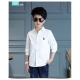 BO0578 เสื้อเชิ๊ตเด็กผู้ชาย คอปกแขนยาว ปักลายสมอเรือที่อกซ้าย สีขาว