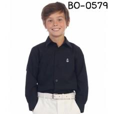 BO0579 เสื้อเชิ๊ตเด็กผู้ชาย คอปกแขนยาว ปักลายสมอเรือที่อกซ้าย สีดำ