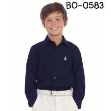 BO0583 เสื้อเชิ๊ตเด็กผู้ชาย คอปกแขนยาว ปักลายสมอเรือที่อกซ้าย สีกรมท่า S.100