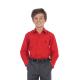 BO0584 เสื้อเชิ๊ตเด็กผู้ชาย คอปกแขนยาว ปักลายสมอเรือที่อกซ้าย สีแดง
