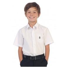 BO0586 เสื้อเชิ๊ตเด็กผู้ชาย คอปกแขนสั้น ปักลายสมอเรือที่อกซ้าย สีขาว