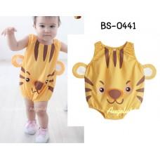BS0441 ชุดบอดี้สูทแฟนซีเด็ก แขนกุด ขาเว้า ลายเสือสีส้ม